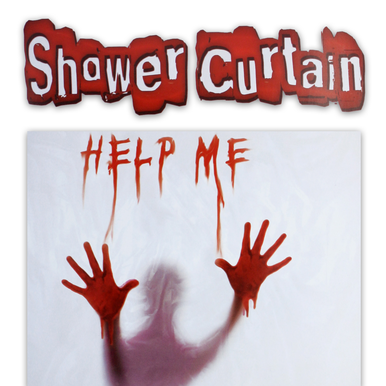 duschvorhang horror duschvorhang help me horror psycho blutige h nde 180x 180 cm ebay. Black Bedroom Furniture Sets. Home Design Ideas