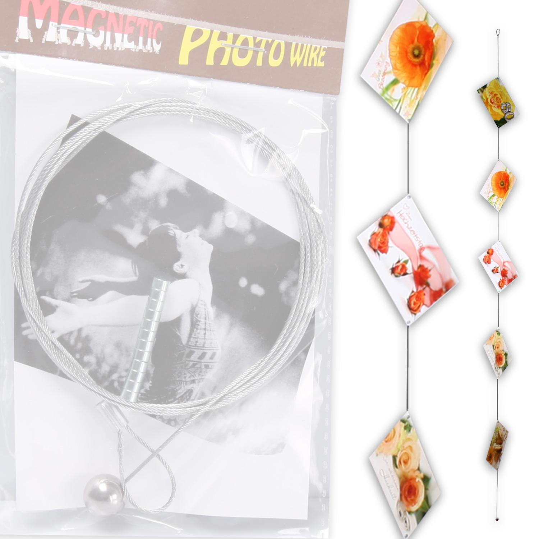 magnetisches fotoseil foto seil fotodraht bilderhalter metall 12 magnete 190 cm ebay. Black Bedroom Furniture Sets. Home Design Ideas