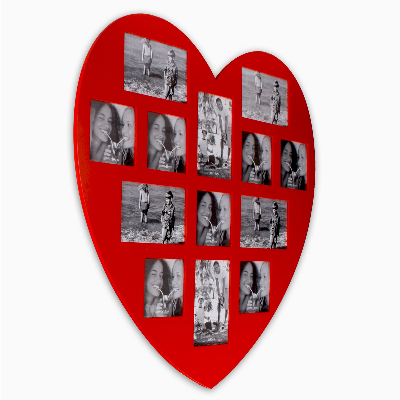 xl bilderrahmen aus mdf 59 x 59 cm f r 13 fotos heart in rot. Black Bedroom Furniture Sets. Home Design Ideas