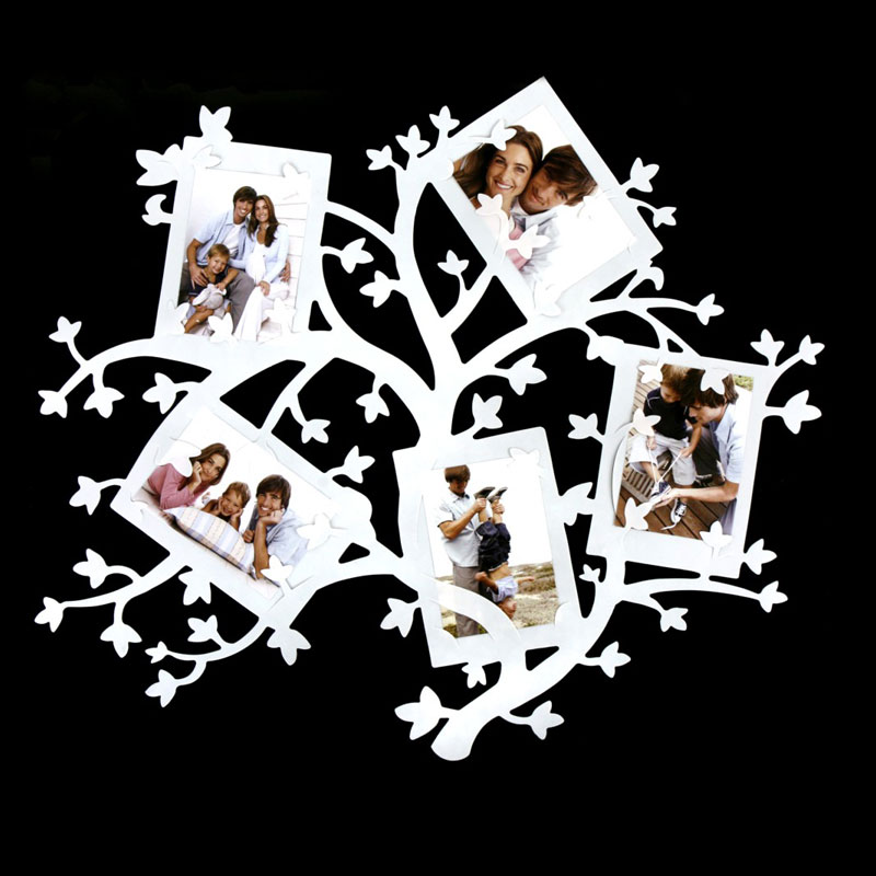wandsticker rahmen fotohalter baum fotorahmen wanddeko wandtattoo wei ebay. Black Bedroom Furniture Sets. Home Design Ideas