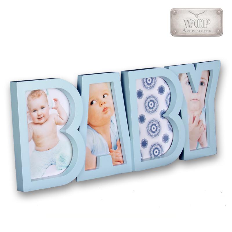 Bilderrahmen Fotorahmen Kunststoff Baby Collage Multirahmen hellblau rosa weiß