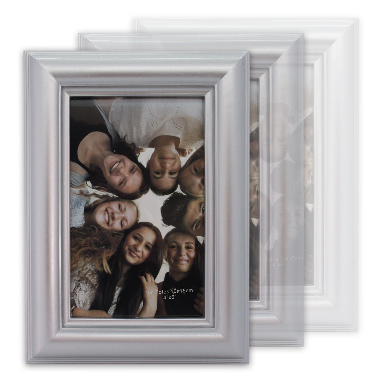 bilderrahmen fotorahmen rahmen foto 10 x 15 cm silber champagne einzeln 3erset ebay. Black Bedroom Furniture Sets. Home Design Ideas