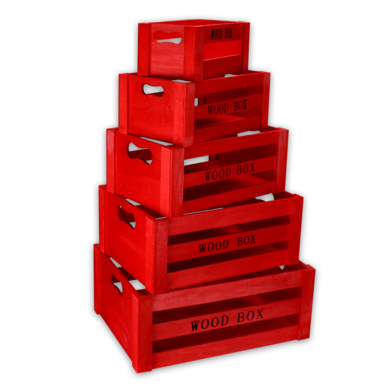 Cassa di legno VINO SCATOLA LEGNO 5er SET SCATOLA DECORAZIONE PORTAOGGETTI BOX  eBay