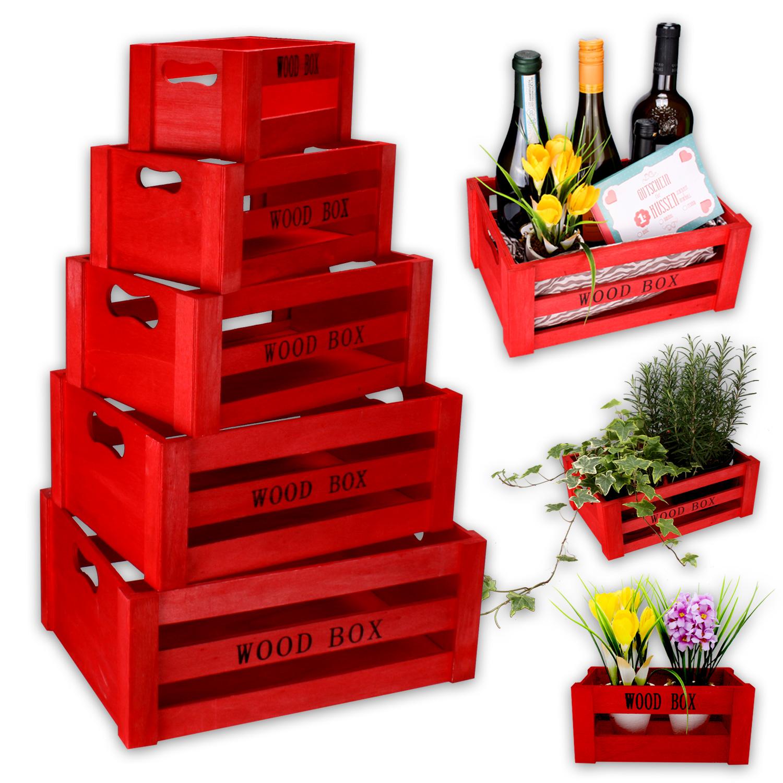 holzkisten set weinkiste holzbox kiste deko box aufbewahrungsbox valetinstag rot. Black Bedroom Furniture Sets. Home Design Ideas