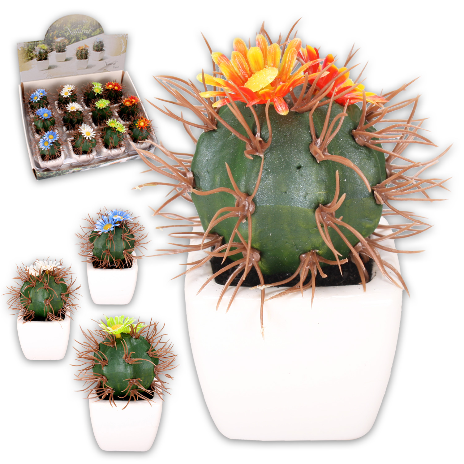 12 artificial cactus im ceramic planter flowers deco blumen. Black Bedroom Furniture Sets. Home Design Ideas
