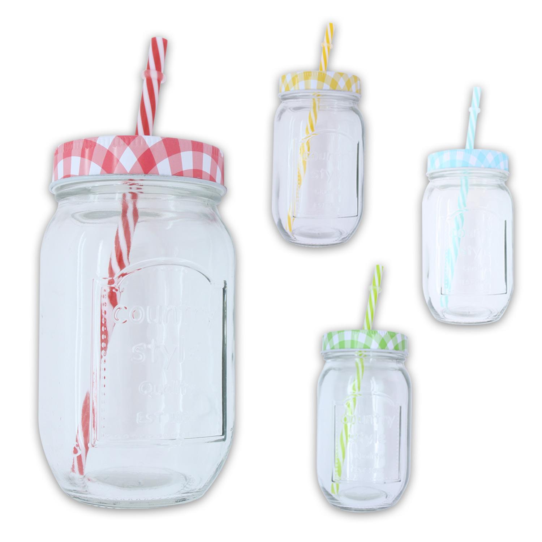 Trinkglas mit strohhalm deckel country 475 ml im 4er set for Deckel trinkglas