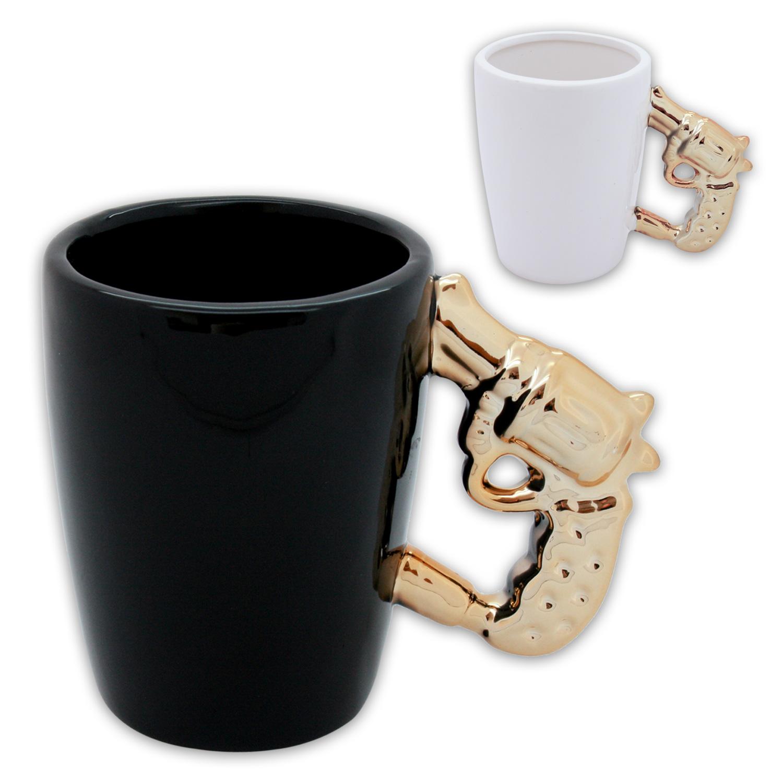 tasse kaffeetasse teetasse sammlertasse revolver pistole schwarz gold 2er set ebay. Black Bedroom Furniture Sets. Home Design Ideas