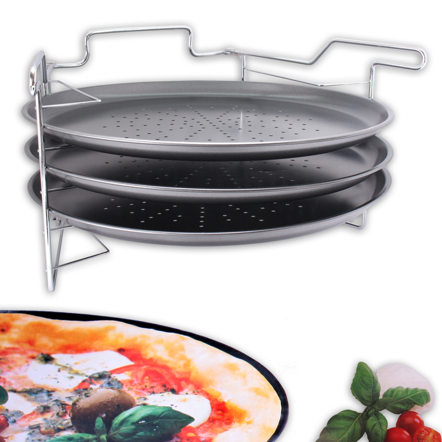 pizza backset backblech pizzahalter mit aufsteller backen pizzablech 32 5 cm ebay. Black Bedroom Furniture Sets. Home Design Ideas