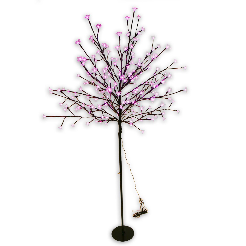 LED-Baum-Lichtbaum-200-LEDs-150cm-STAMM-perlmutt-silber-schwarz-BLUTE-weiss-pink
