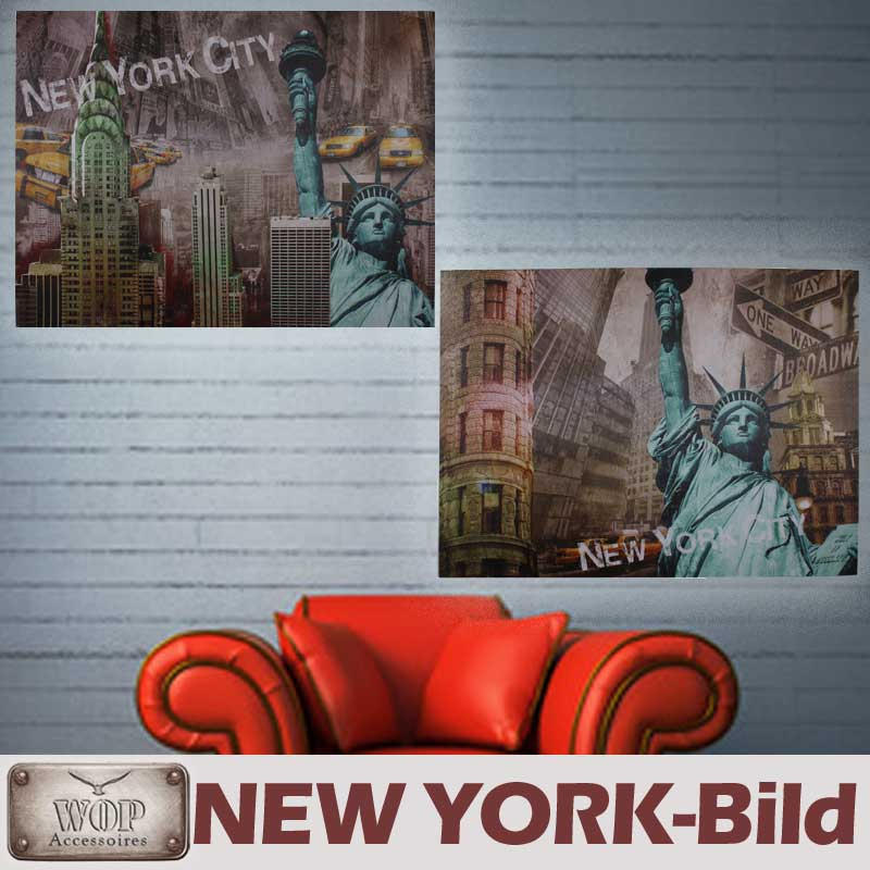 xl new york bild leinwand gem lde amerika holzrahmen freiheitsstatue ebay. Black Bedroom Furniture Sets. Home Design Ideas