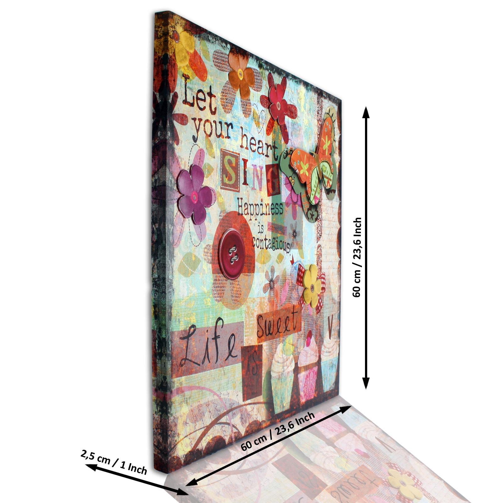 leinwandbild leinwand bild 3d look bunt kunstdruck. Black Bedroom Furniture Sets. Home Design Ideas