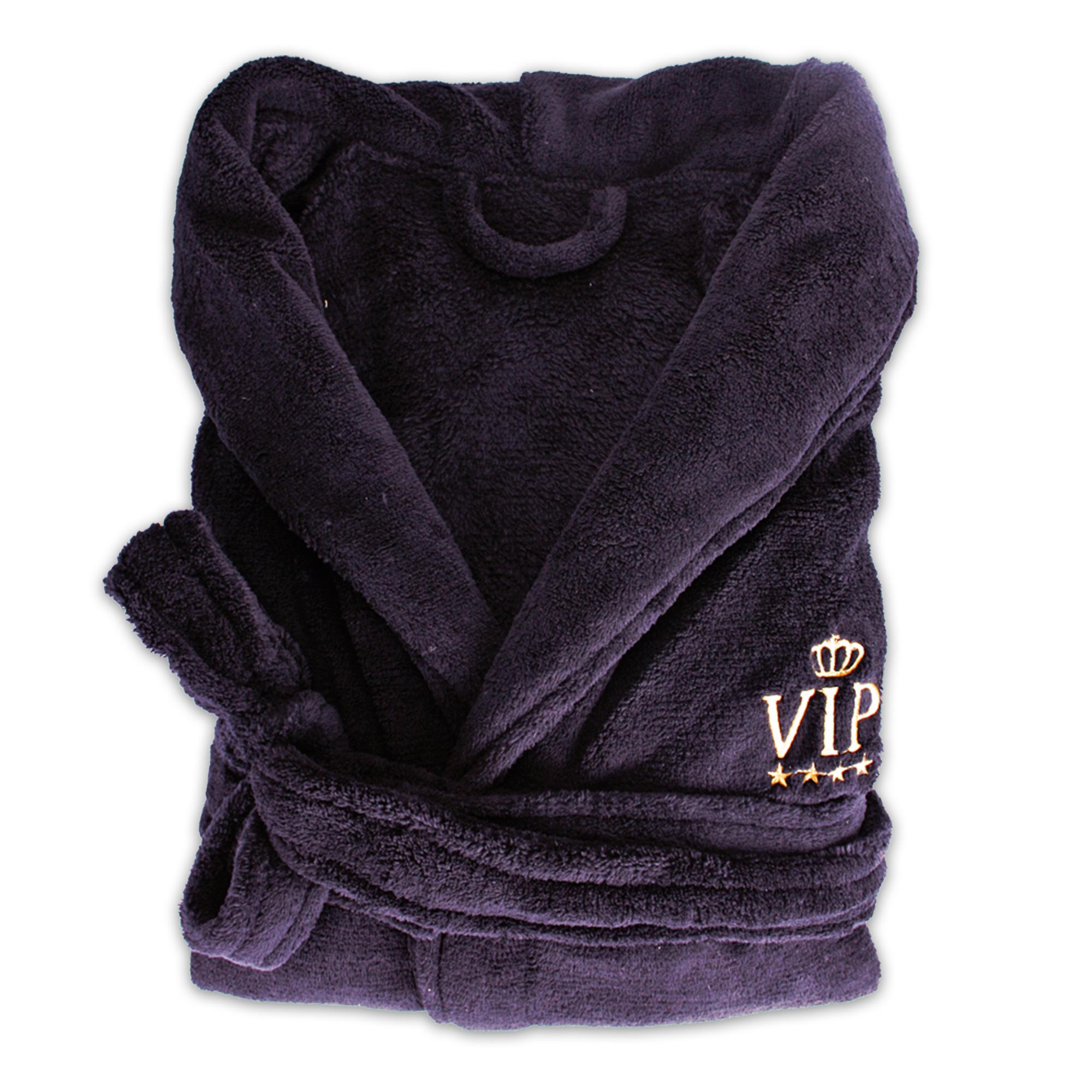 unisex bademantel aus kuscheligem polyester one size schwarz gold vip. Black Bedroom Furniture Sets. Home Design Ideas