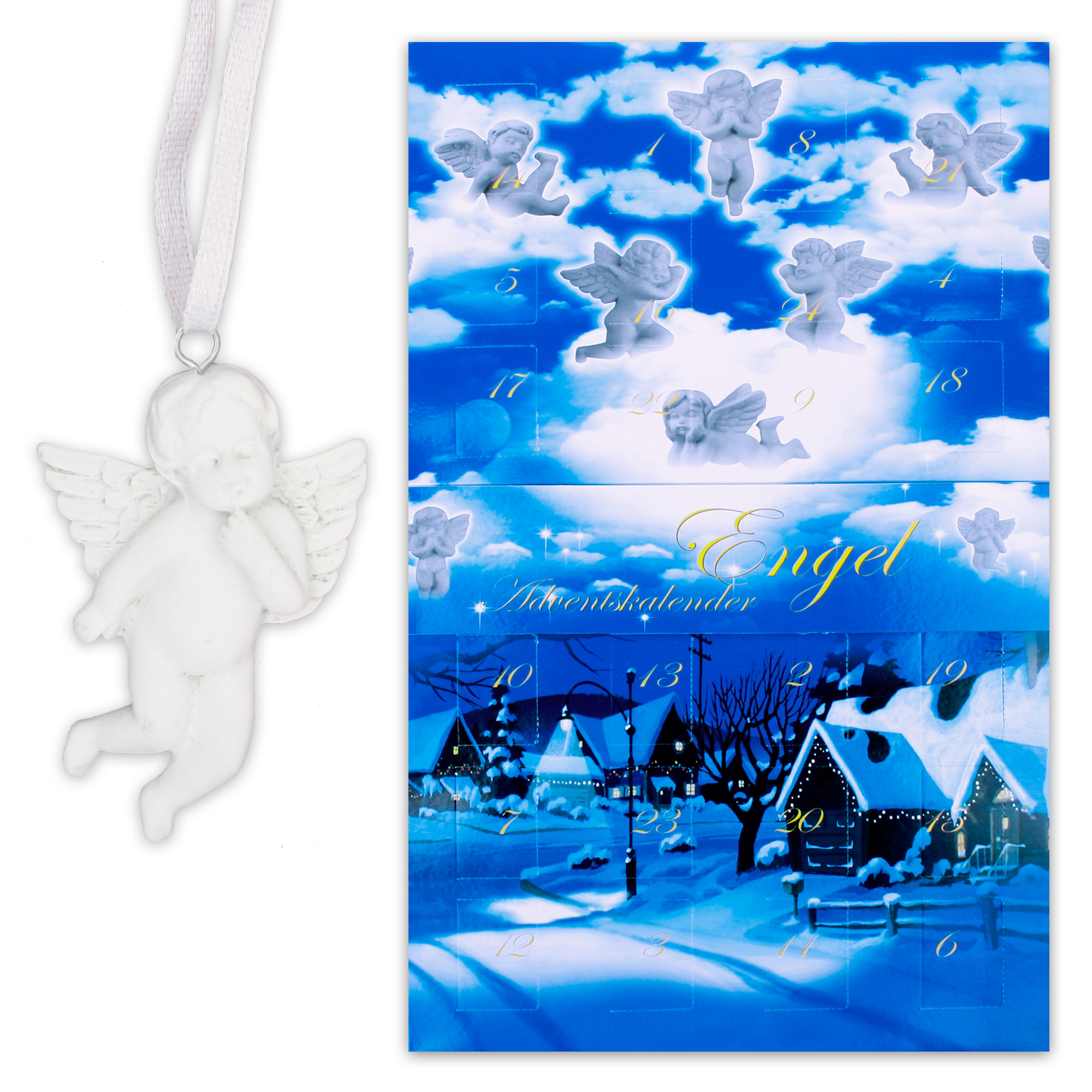 himmlischer adventskalender mit 24 engelchen aus polyresin zum aufh ngen advent ebay. Black Bedroom Furniture Sets. Home Design Ideas