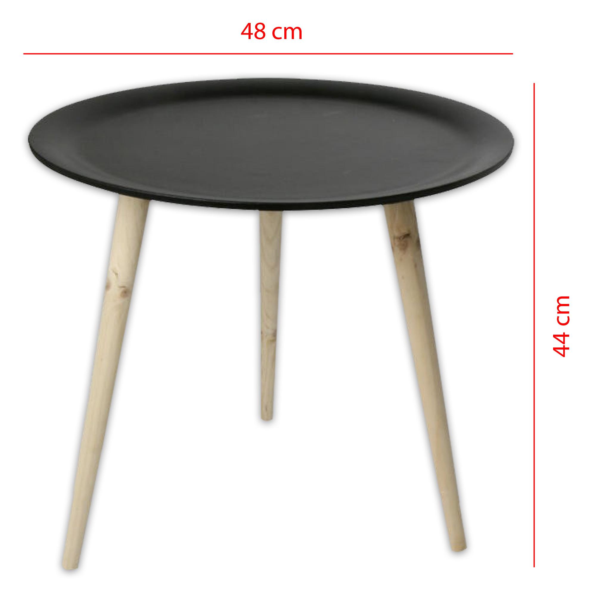 tisch holztisch im retro stil aus kiefernholz 38 cm 48 cm in schwarz weiss ebay. Black Bedroom Furniture Sets. Home Design Ideas
