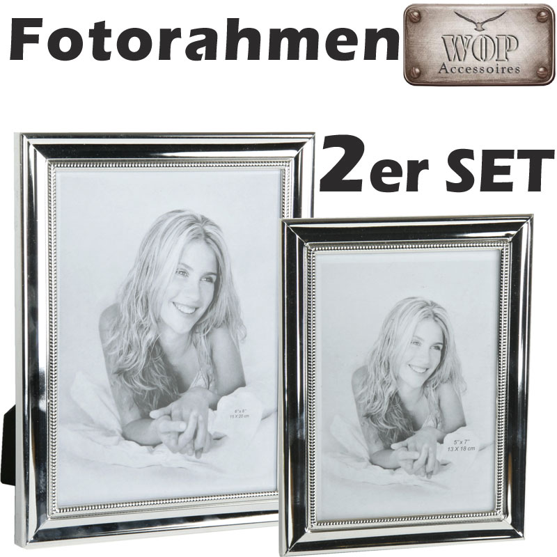 bilderrahmen 2er set metall silber foto fotorahmen bild 10x15 u 12x18. Black Bedroom Furniture Sets. Home Design Ideas
