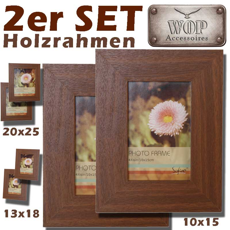 bilderrahmen 2er set holzoptik foto fotorahmen bild photo holz neu ebay. Black Bedroom Furniture Sets. Home Design Ideas