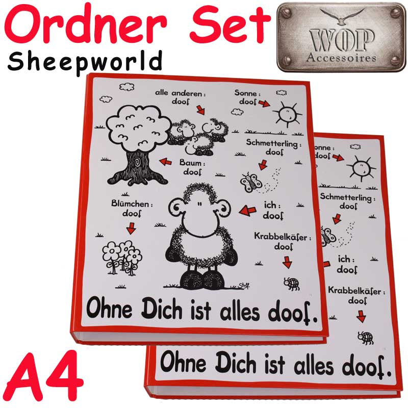 sheepworld ringordner ohne dich ist alles doof a4 schulordner ordner ebay. Black Bedroom Furniture Sets. Home Design Ideas