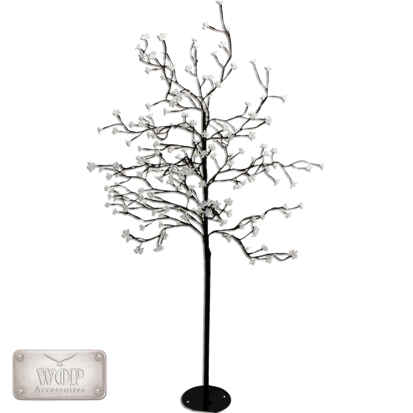 led baum lichtbaum leuchtbaum lichterkette 200 led 150cm silber schwarz wei ebay. Black Bedroom Furniture Sets. Home Design Ideas