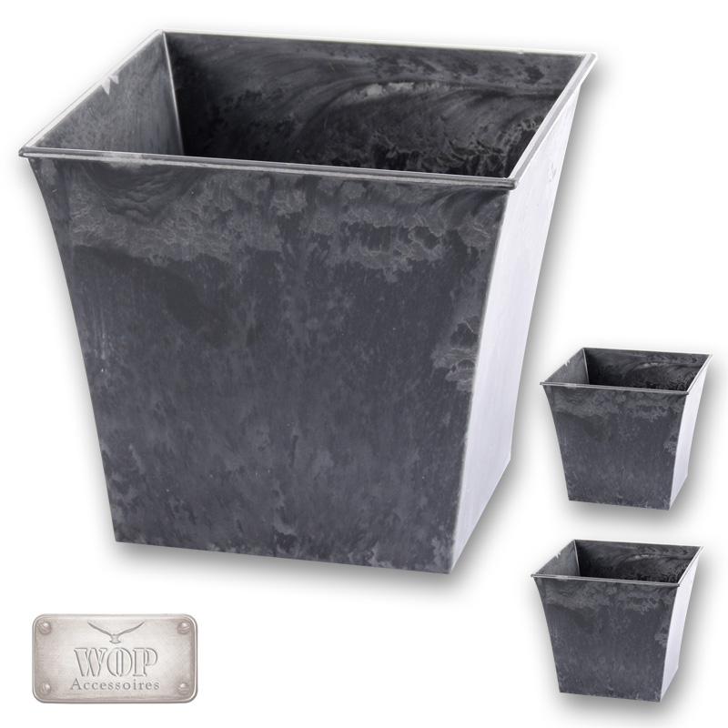 3er set blumentopf blumenk bel bertopf pflanzk bel kunststoff schiefer optik ebay. Black Bedroom Furniture Sets. Home Design Ideas