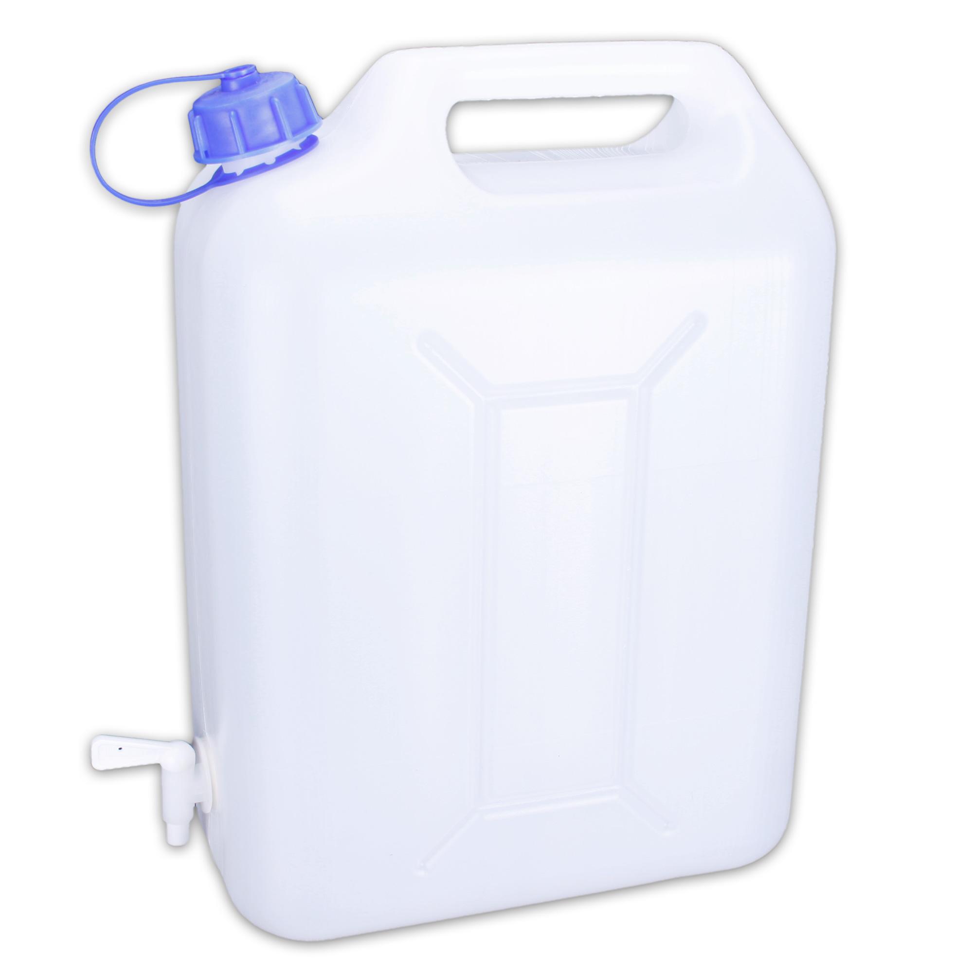 sehr praktischer 10 liter kunststoff wasserkanister mit wasserhahn f r unterwegs ebay. Black Bedroom Furniture Sets. Home Design Ideas