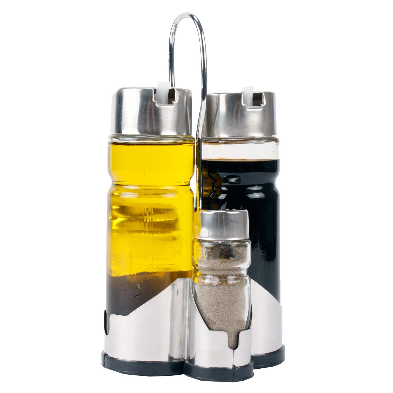 5 teiliges menage set essig l salz pfeffer aus glas. Black Bedroom Furniture Sets. Home Design Ideas