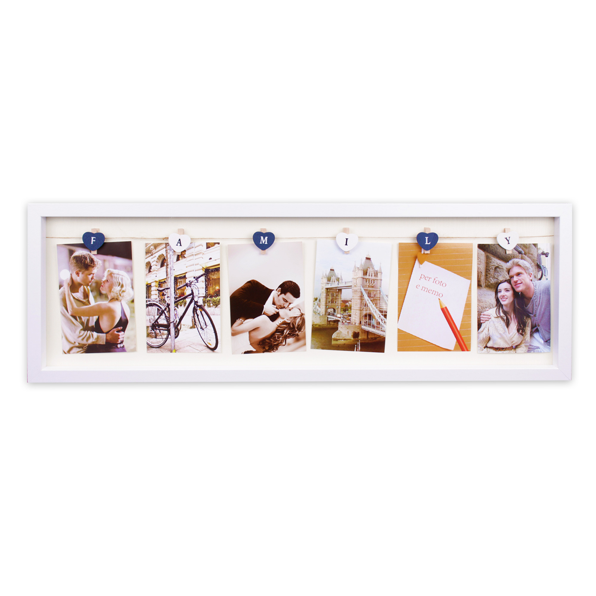 bilderrahmen aus mdf 24 x 72 x 3 cm f r 6 fotos 10 x 15 cm modell family weiss. Black Bedroom Furniture Sets. Home Design Ideas