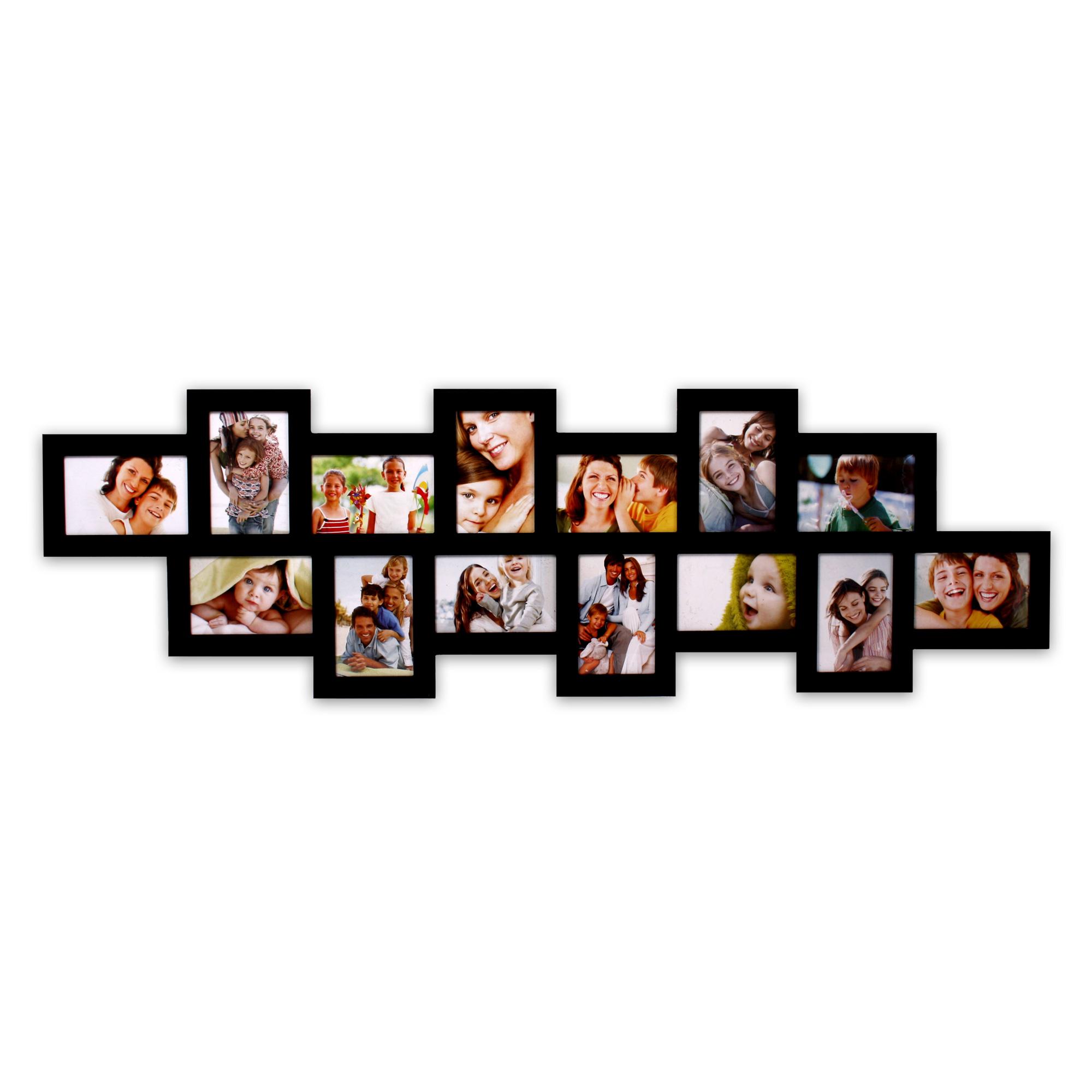 Bilderrahmen 35 x 117 cm für 14 Fotos 10 x 15 cm in weiss schwarz ...