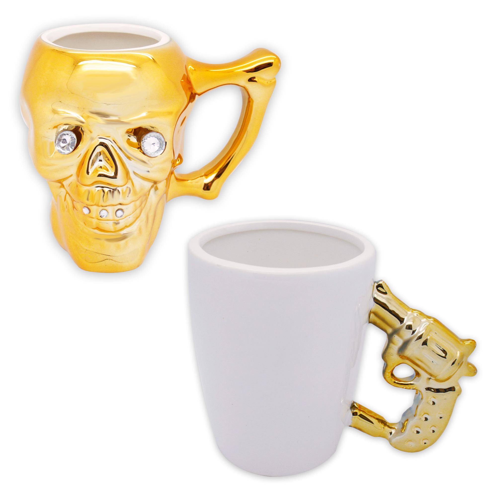 kaffeetasse teetasse dekotasse totenkopf skull sch del pistole revolver keramik. Black Bedroom Furniture Sets. Home Design Ideas