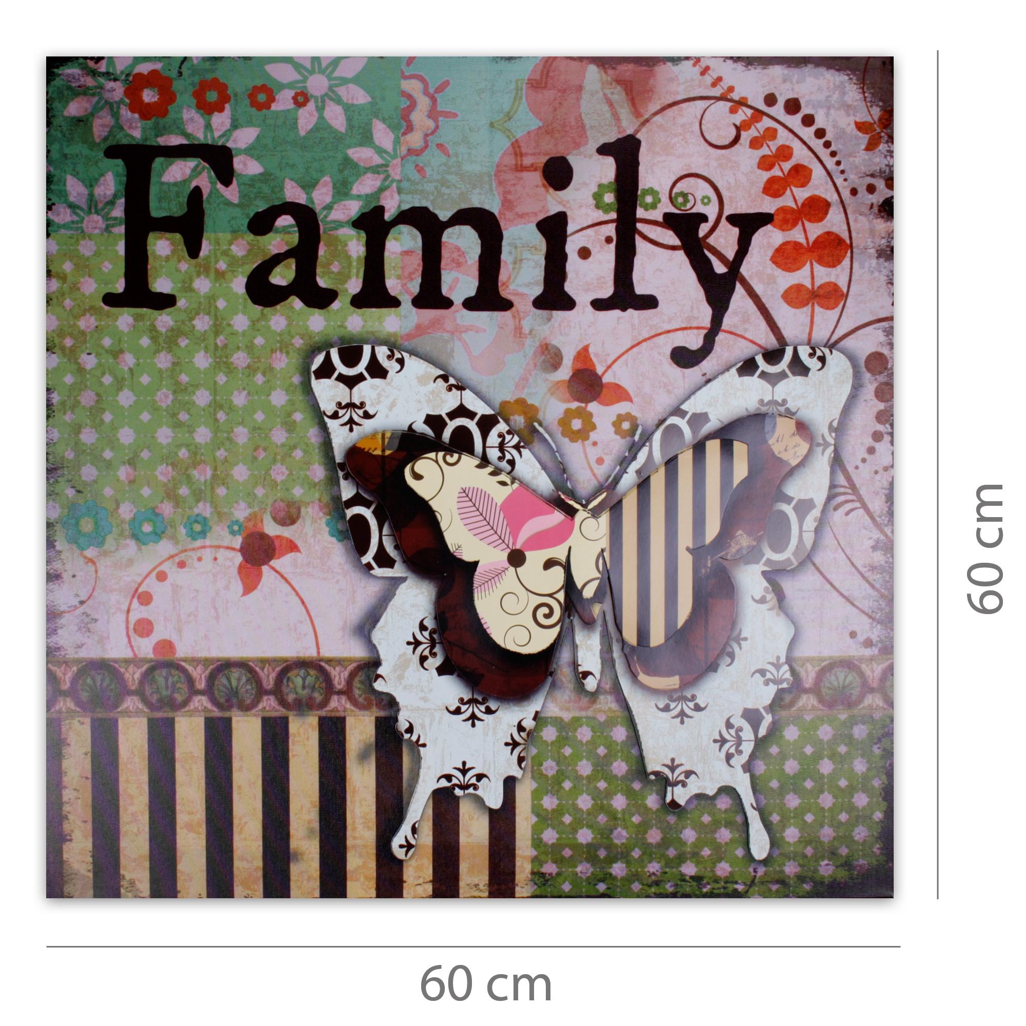 Moderner kunstdruck auf leinwand mit 3d applikationen 60 x 60 cm family - Moderner kunstdruck leinwand ...