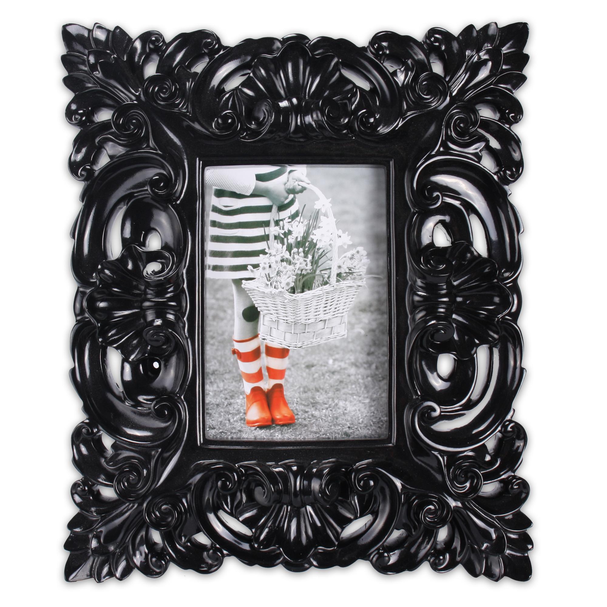 edler bilderrahmen aus kunststoff f r 1 foto 10 x 15 cm barockart in schwarz ebay. Black Bedroom Furniture Sets. Home Design Ideas