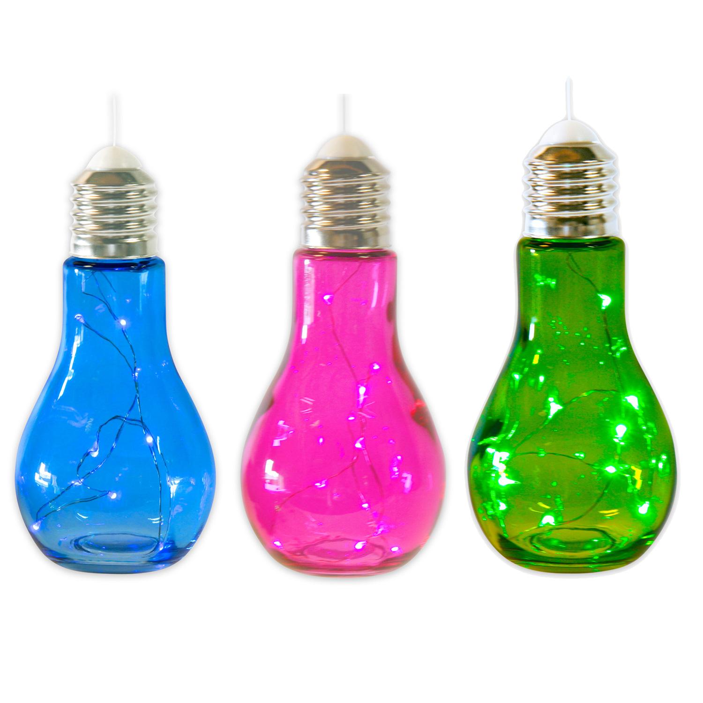3 x gl hbirne mit led beleuchtung zum aufh ngen in 4 verschiedenen farben. Black Bedroom Furniture Sets. Home Design Ideas