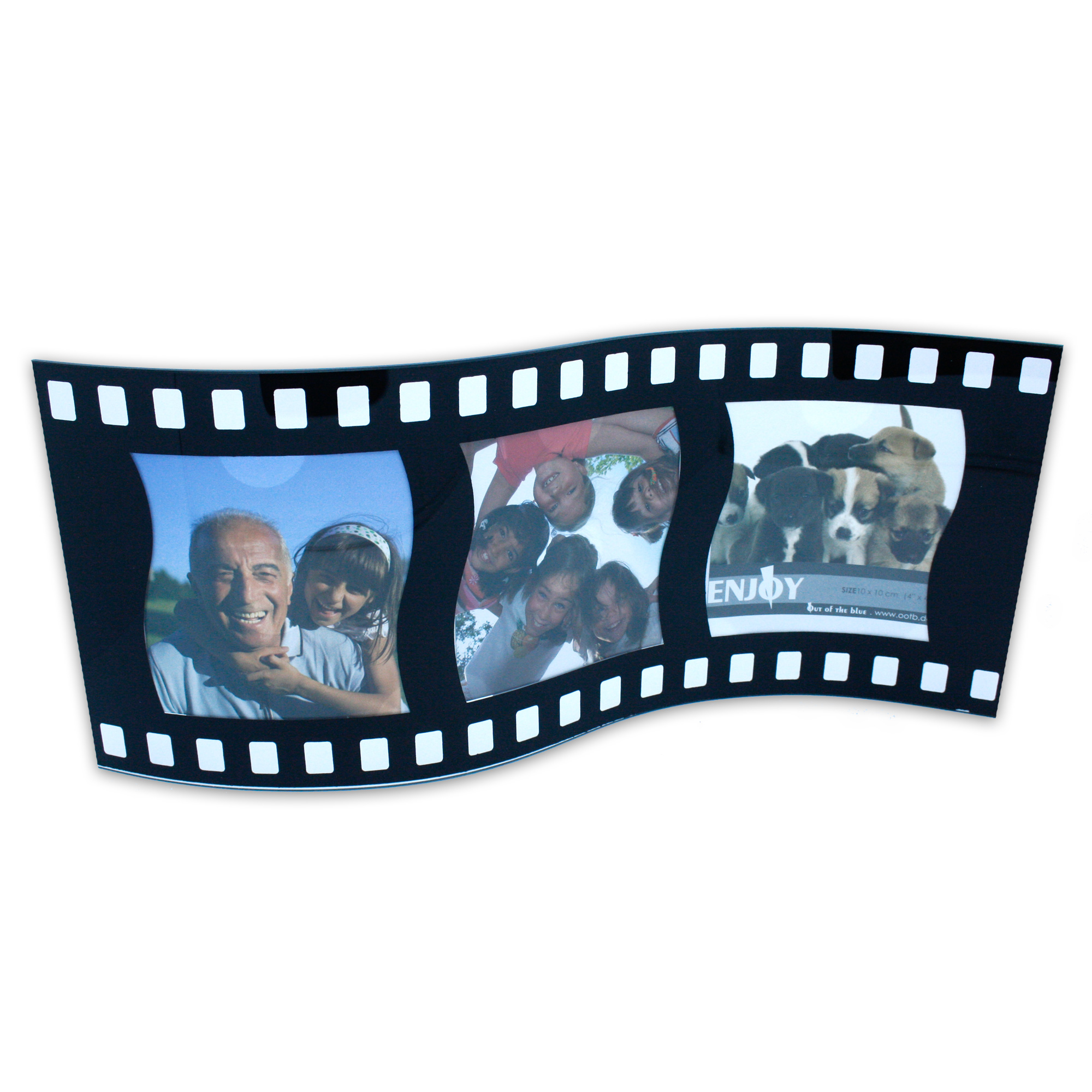 bilderrahmen aus glas in filmrollen optik f r 3 fotos 10 x 10 cm movie star. Black Bedroom Furniture Sets. Home Design Ideas