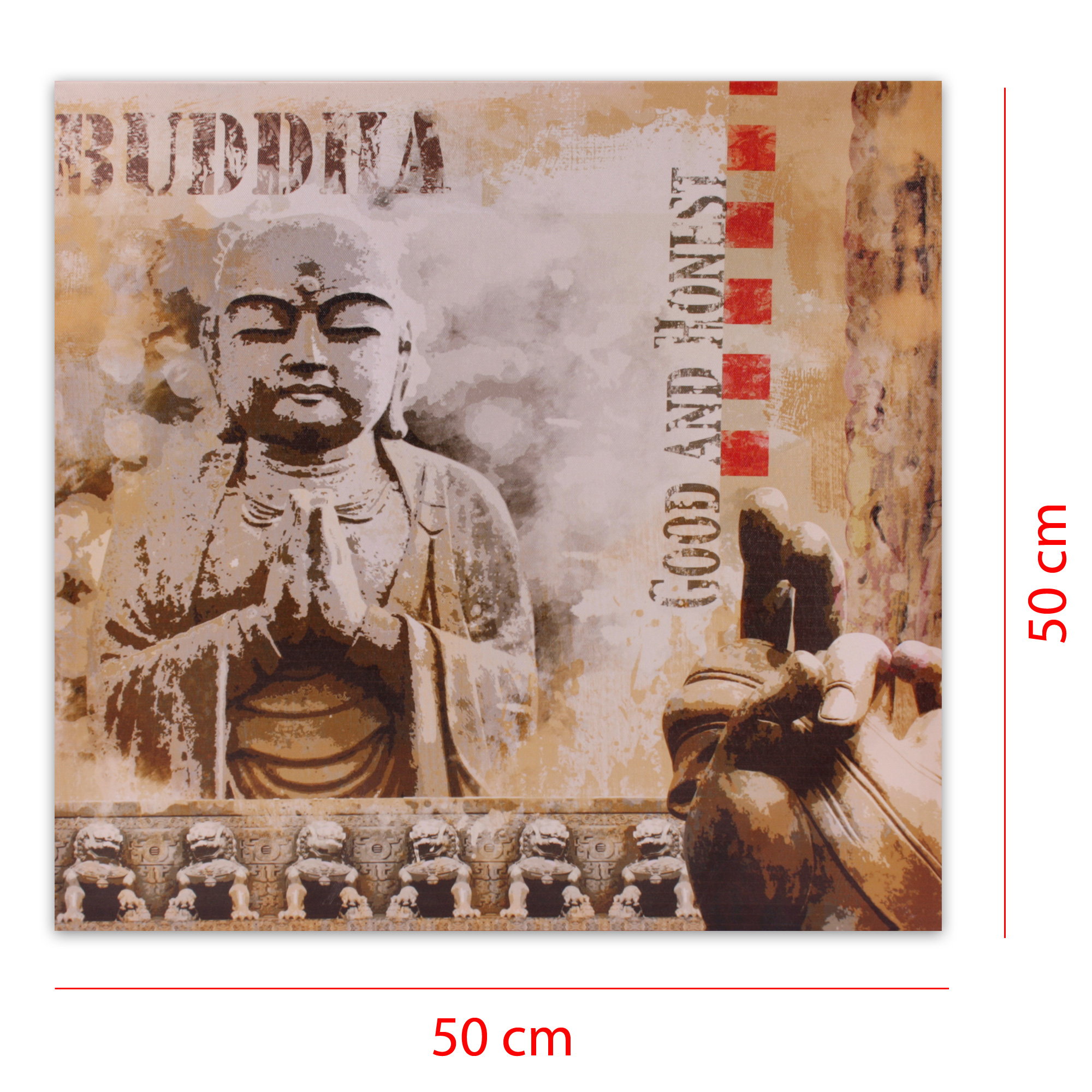 moderner kunstdruck auf leinwand 50 x 50 cm betender buddha. Black Bedroom Furniture Sets. Home Design Ideas