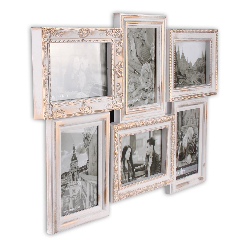 bilderrahmen aus kunststoff f r 6 fotos 10 x 15 cm barcok city 6 in weiss gold. Black Bedroom Furniture Sets. Home Design Ideas