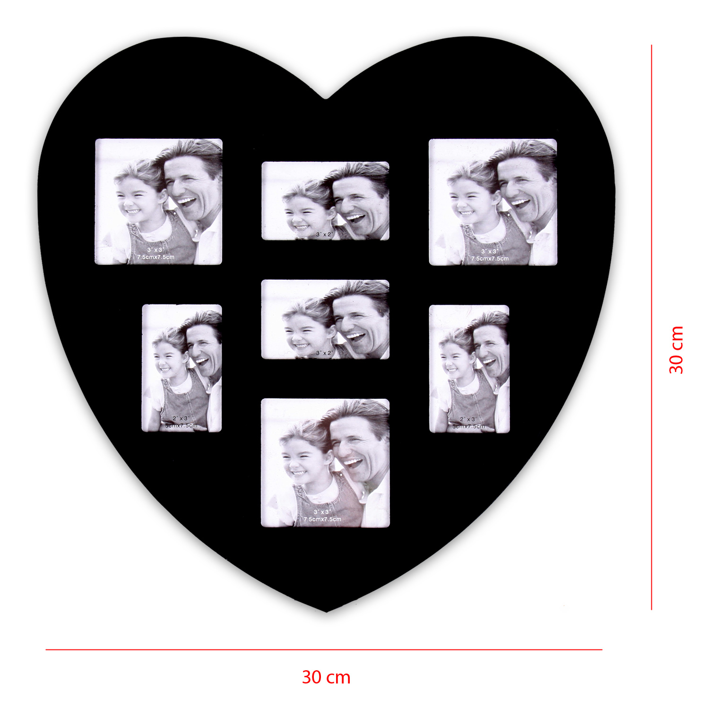 bilderrahmen aus mdf 30 x 30 cm f r 7 fotos in herzform modell heart in schwarz ebay. Black Bedroom Furniture Sets. Home Design Ideas