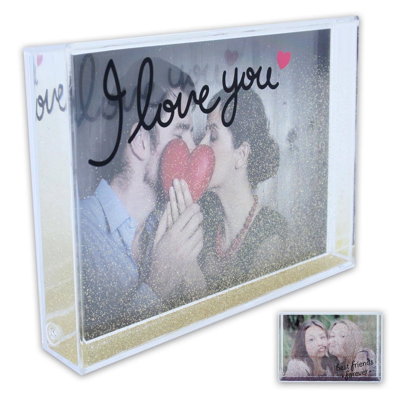 acryl bilderrahmen fotorahmen fotohalter foto 10 x 15 cm mit glitter 2 modelle ebay. Black Bedroom Furniture Sets. Home Design Ideas