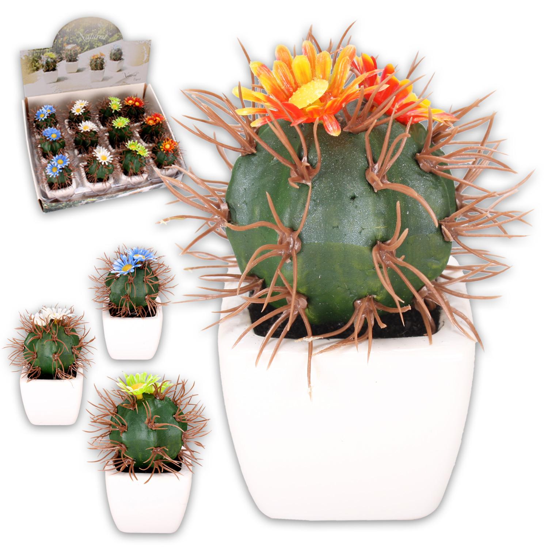 12 artificial cactus in keramik bertopf flowers deco blumen ebay. Black Bedroom Furniture Sets. Home Design Ideas