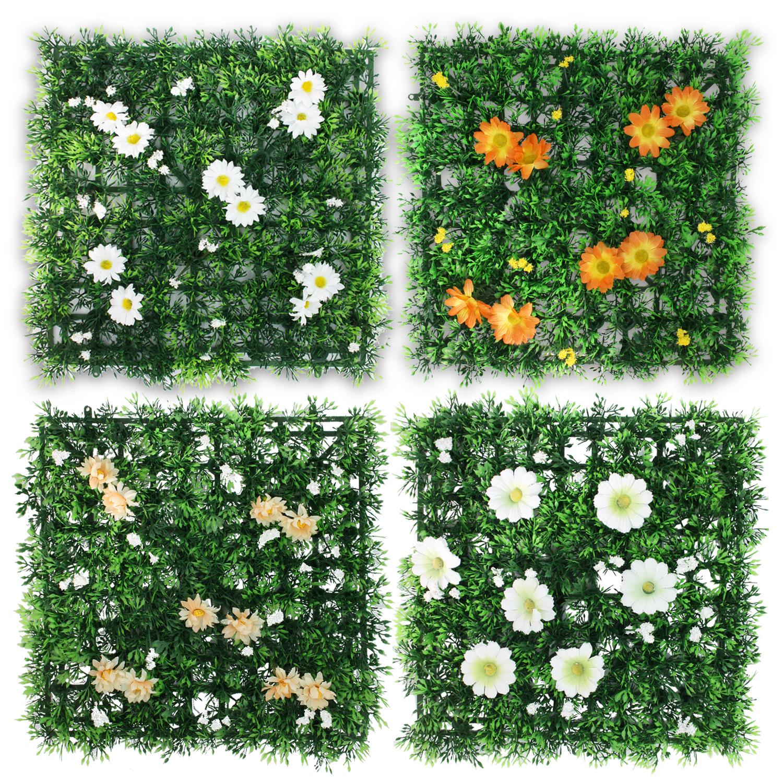 Bunte Rasenfliesen Kunstrasen Kunstgras Kunstblumen Blumenmatte Blumen 12er SET