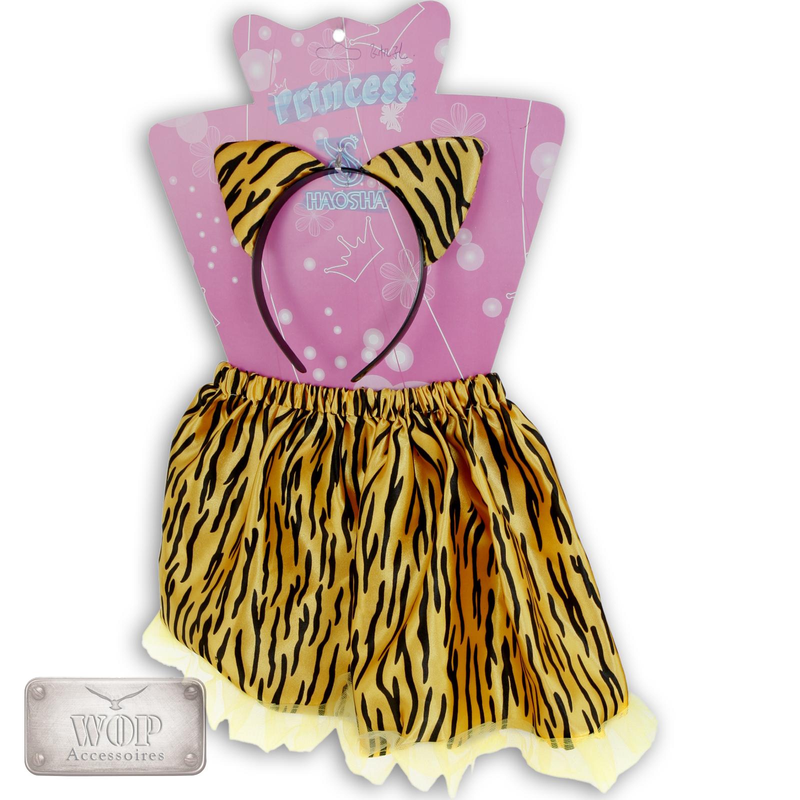 2teiliges-Kinder-Faschingskostuem-Rock-amp-Haarreif-Onesize-Tiger-Kuh-Dalmatiner