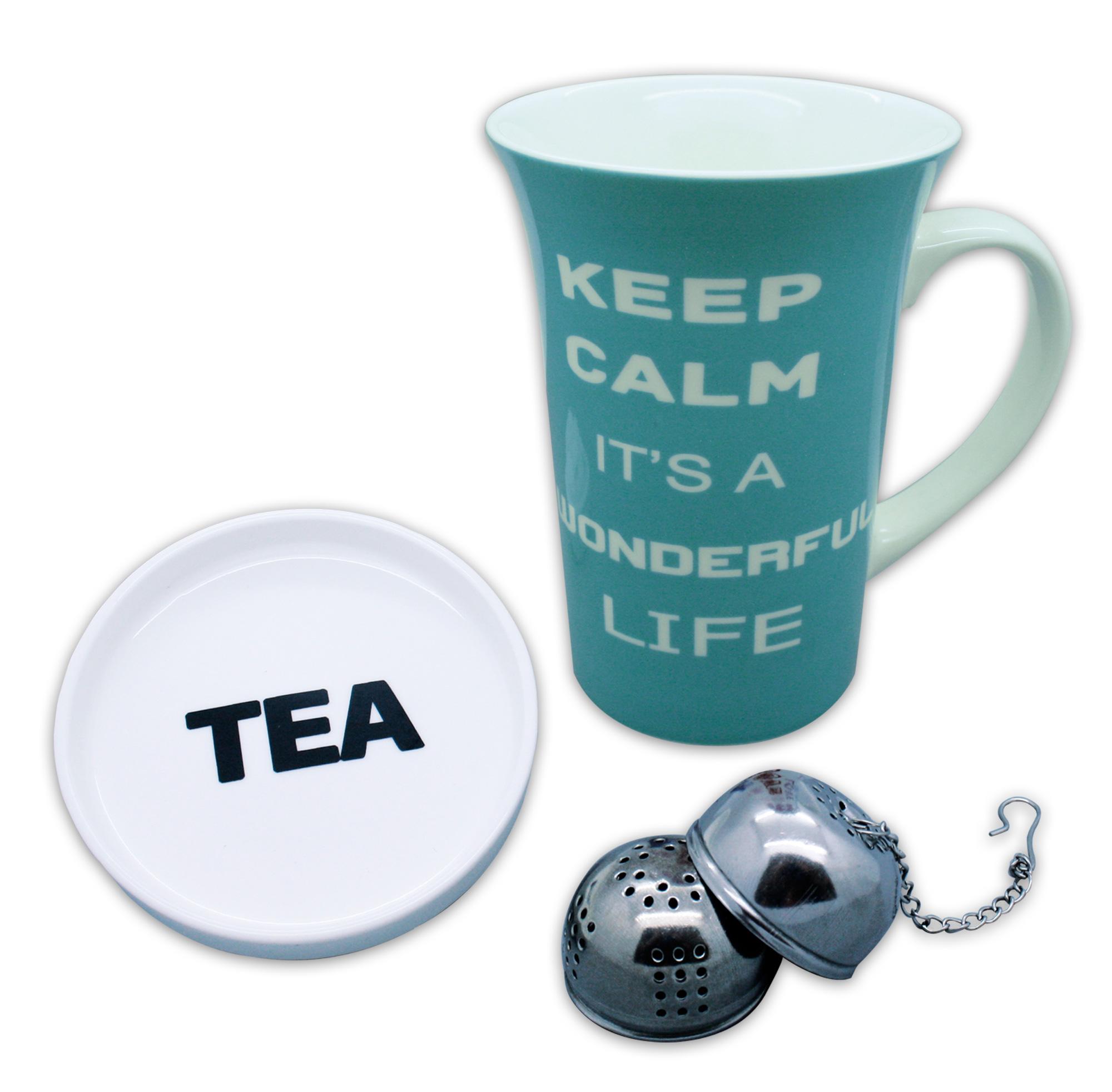 Schöne Teetasse mit Deckel und Tee-Ei aus Porzellan mit