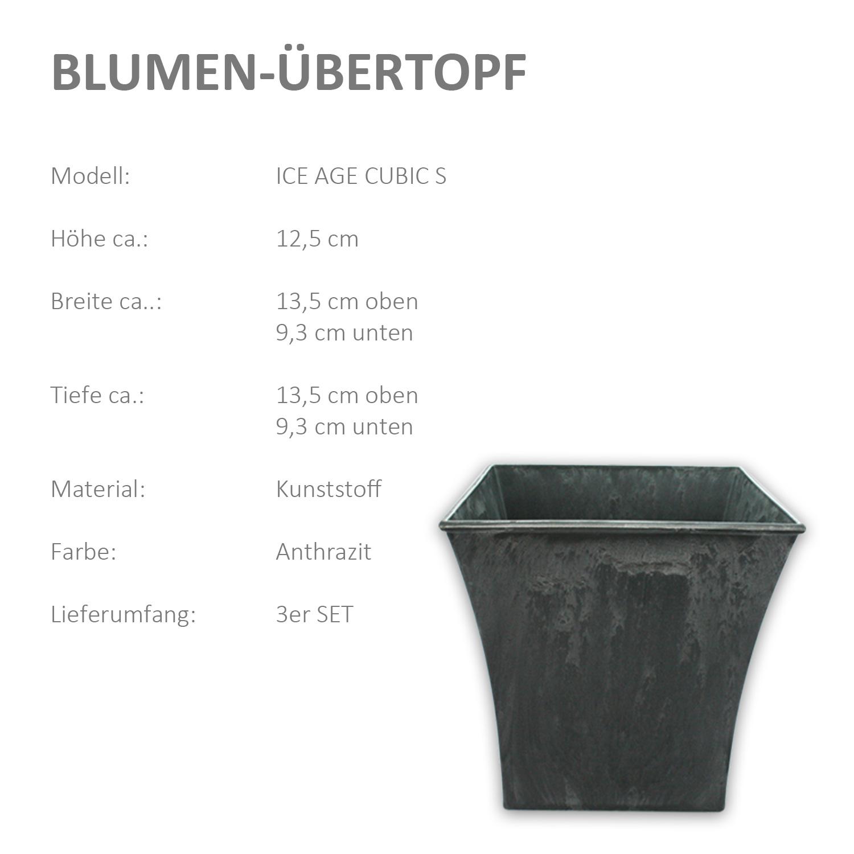 3er Set Blumentopf Blumenkübel Übertopf Pflanzkübel Kunststoff Schiefer Optik
