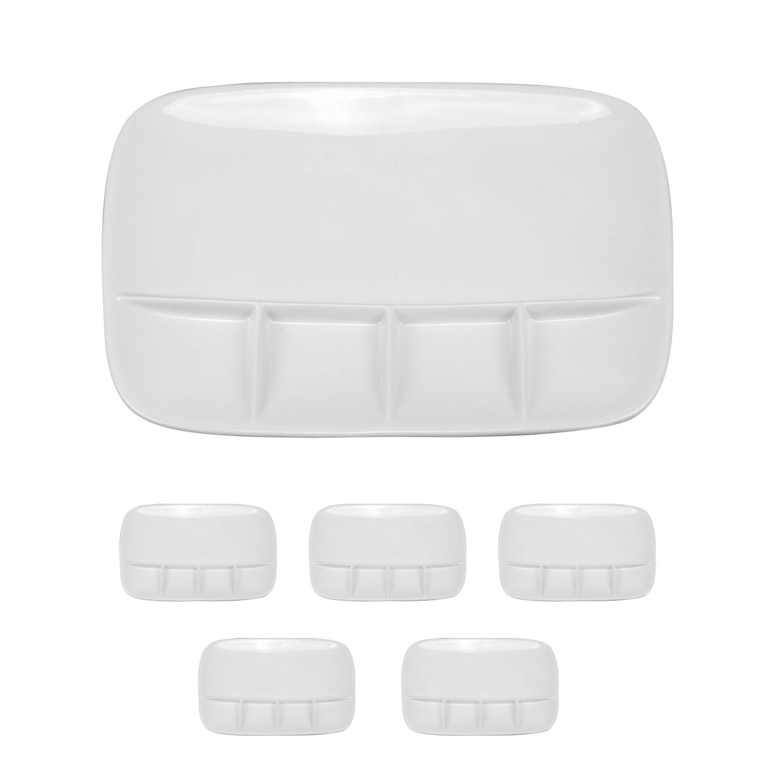 Fondueteller-Porzellan-Teller-Servierteller-Racletteteller-6er-oder-12er-Set