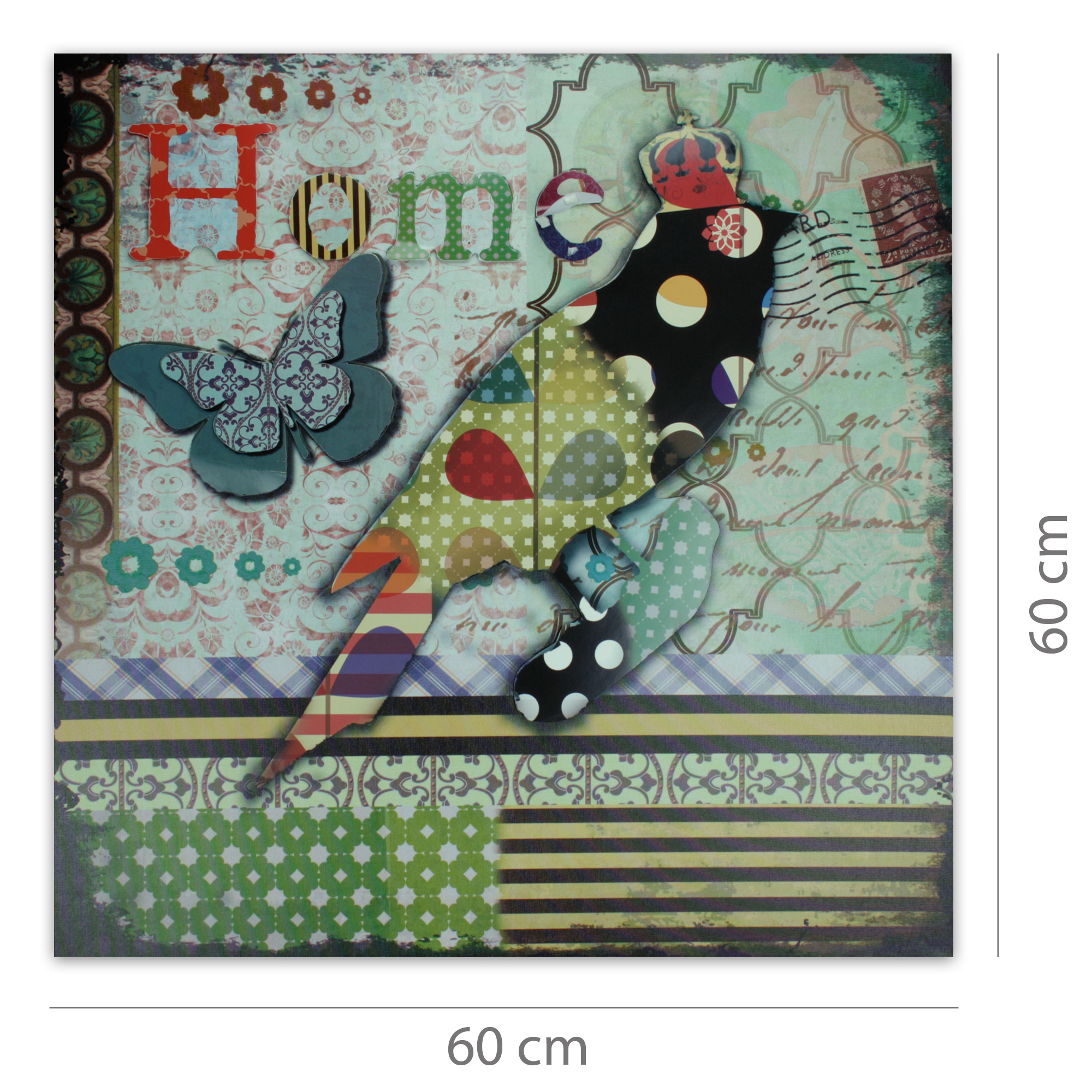 Moderner kunstdruck auf leinwand mit 3d applikationen 60 x 60 cm home vogel - Moderner kunstdruck leinwand ...