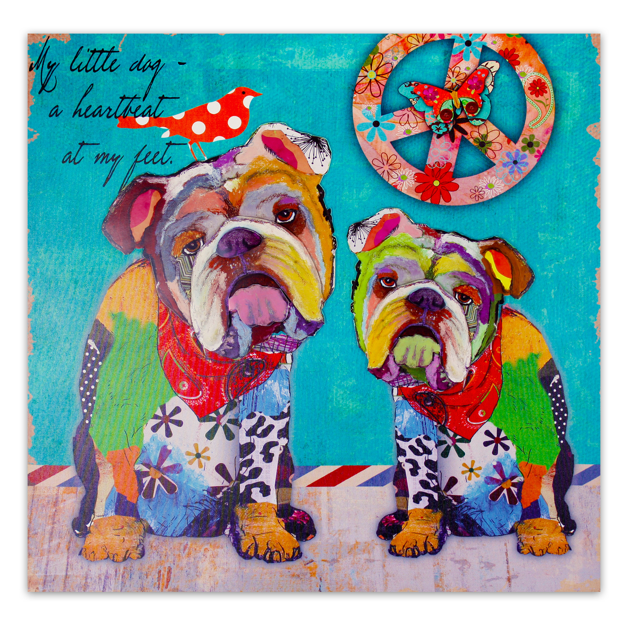 moderner kunstdruck auf leinwand mit 3d applikationen 60 x 60 cm hippie bulldogs ebay. Black Bedroom Furniture Sets. Home Design Ideas