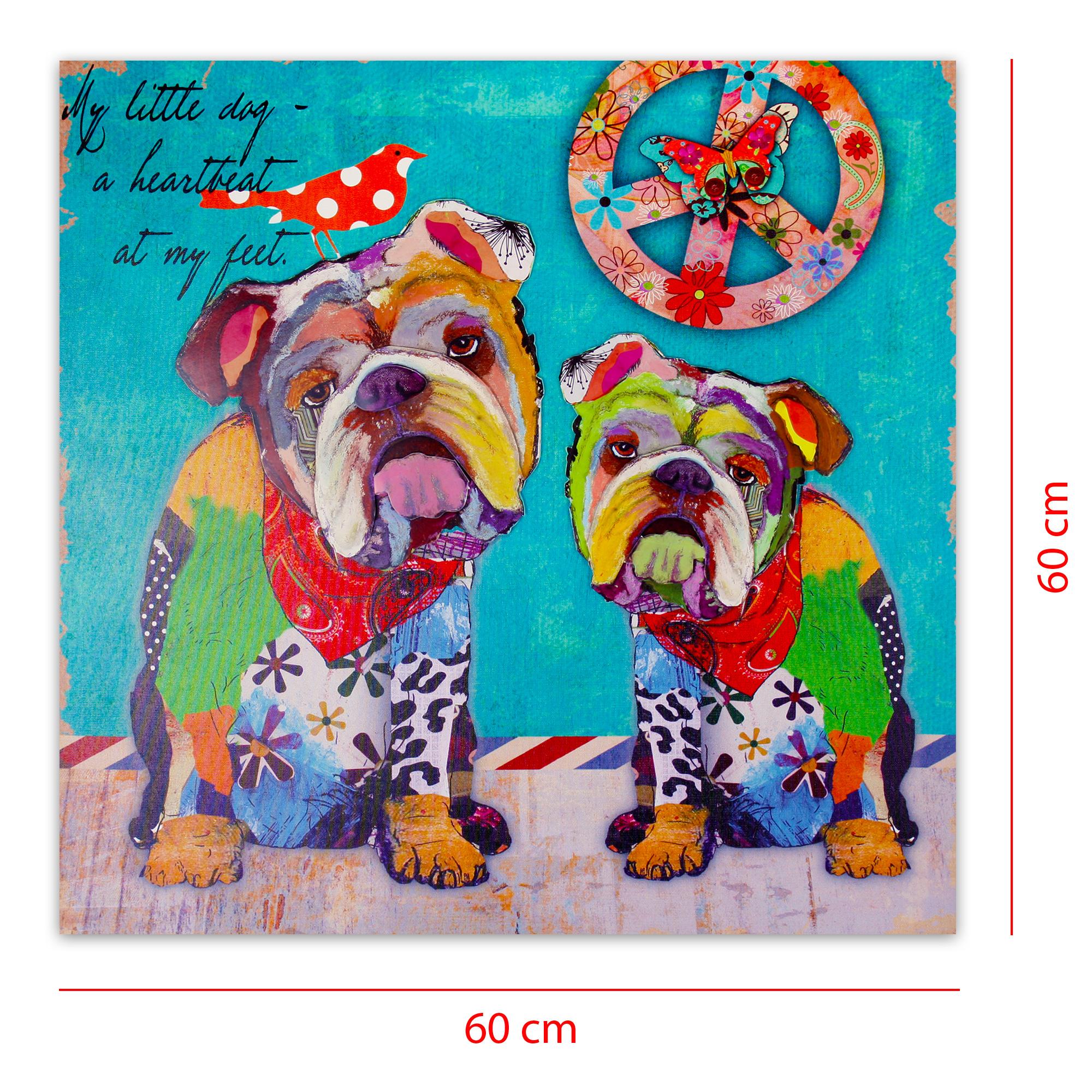 Moderner kunstdruck auf leinwand mit 3d applikationen 60 x 60 cm hippie bulldogs ebay - Moderner kunstdruck leinwand ...