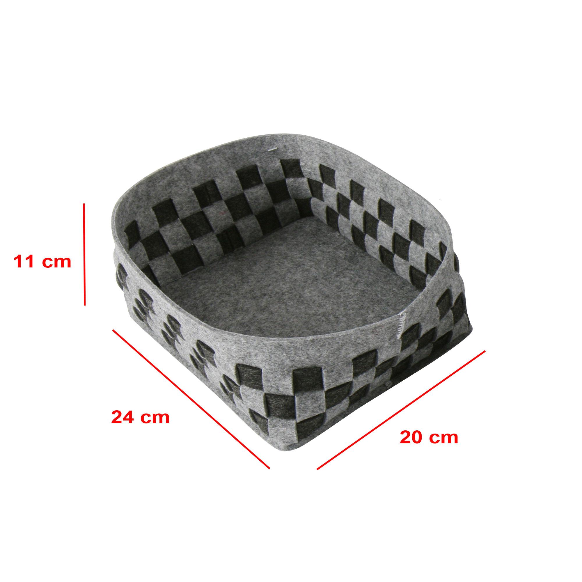 Aufbewahrungs-Korb mit 4 F/ächern geflochten Grau
