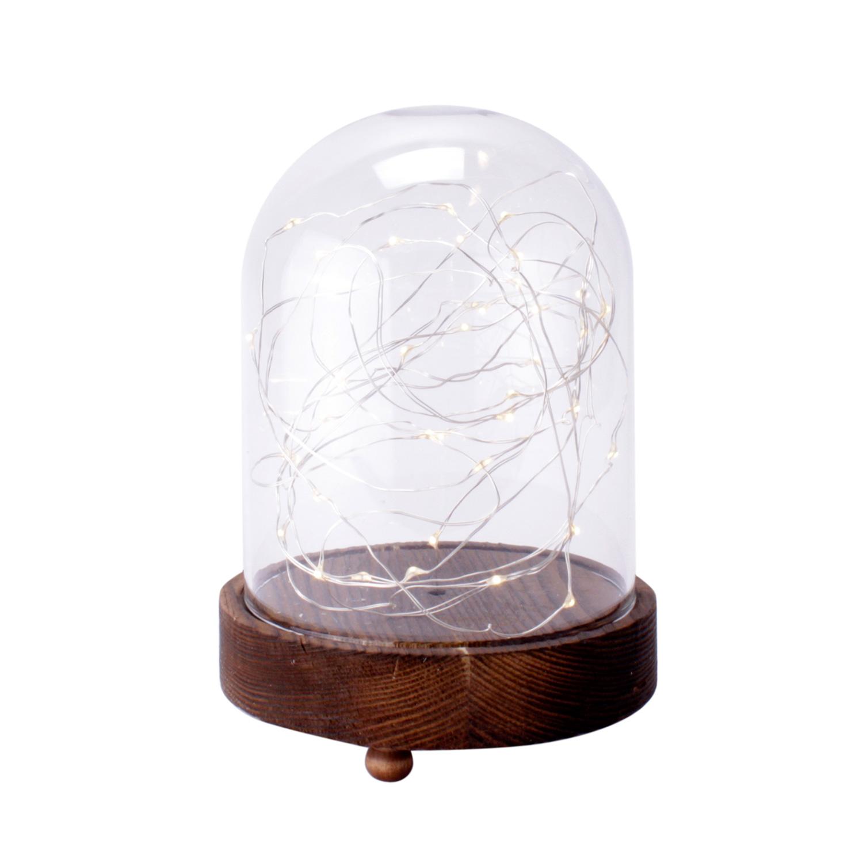 Cha ne lumineuse led cloche en verre pieds bois d coration for Decoration lumineuse fenetre