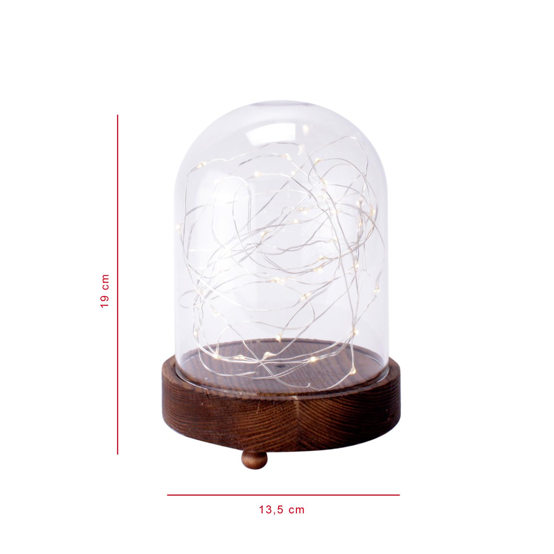 cha ne lumineuse led cloche en verre pieds bois d coration de no l fen tre ebay. Black Bedroom Furniture Sets. Home Design Ideas