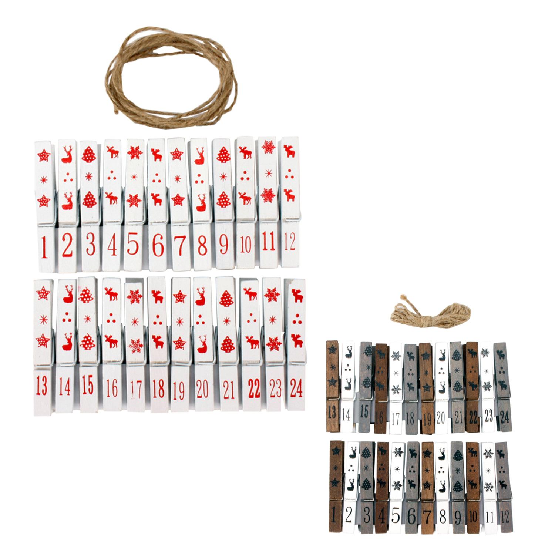 adventskalender mit klammern aus holz schnur aufh ngen. Black Bedroom Furniture Sets. Home Design Ideas