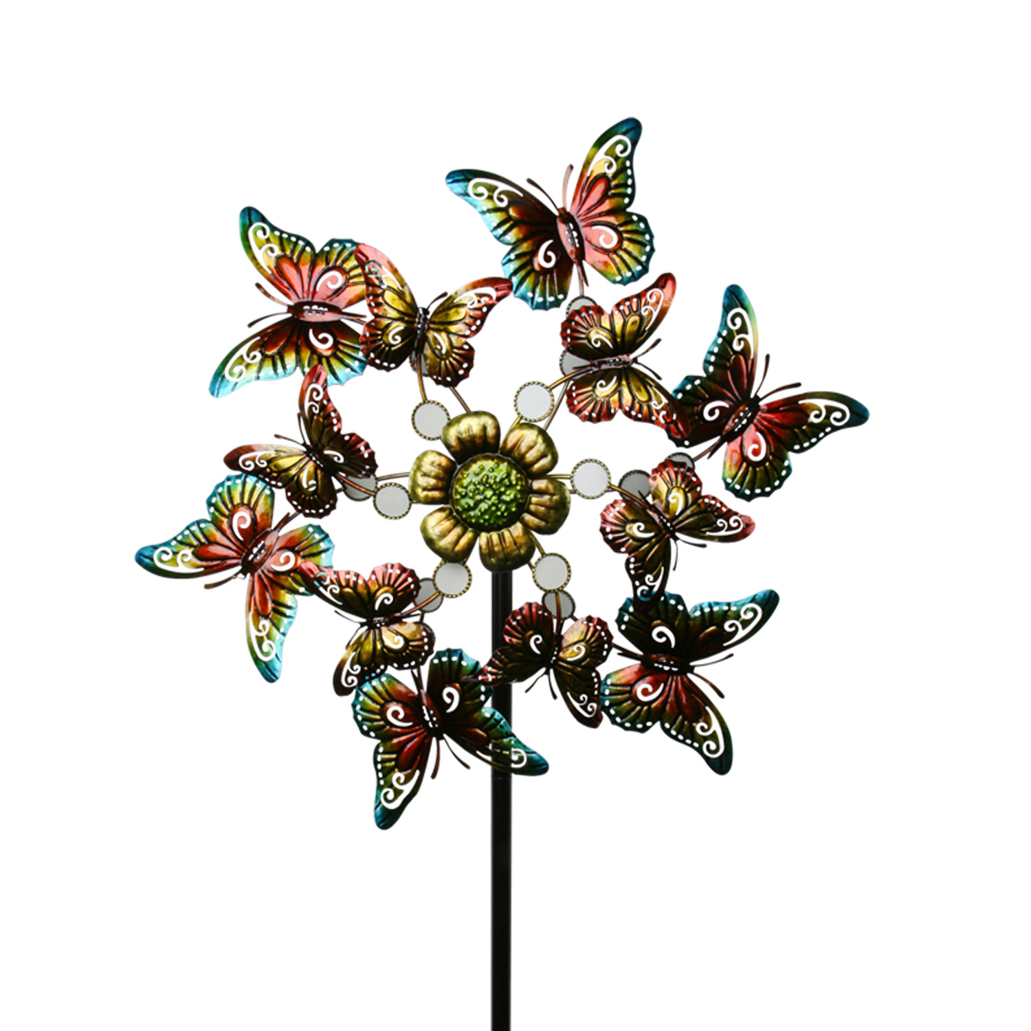 Windrad Schmetterling Ø 62 cm Windrad Gartendeko Blume Windspiel Gartenstecker